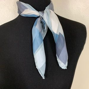VINTAGE BLUE GEOMETRIC SHAPE SQUARE SHEER SCARF